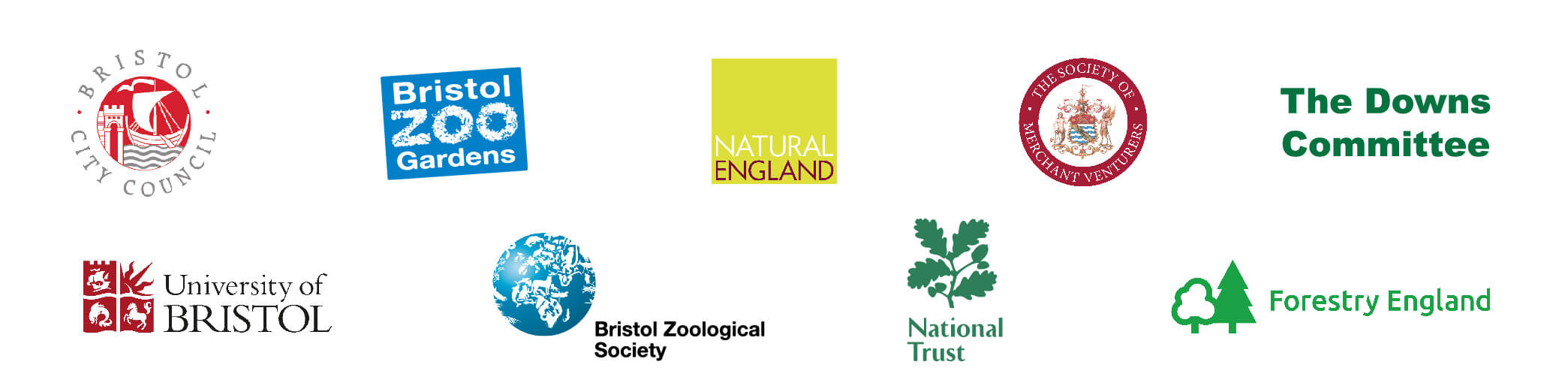 Avon Gorge & Downs partner logos of Bristol City Council, Bristol Zoo Gardens, University of Bristol, Merchant Venturers, The Downs Committee and Bristol Zoological Society